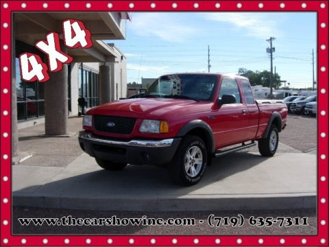 Bright Red 2002 Ford Ranger XLT SuperCab 4x4
