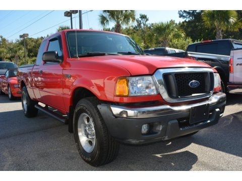 Bright Red 2004 Ford Ranger XLT SuperCab 4x4