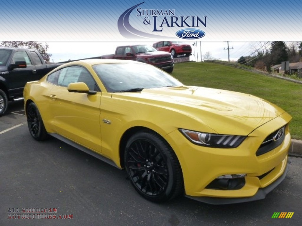 2015 ford mustang gt premium coupe in triple yellow. Black Bedroom Furniture Sets. Home Design Ideas