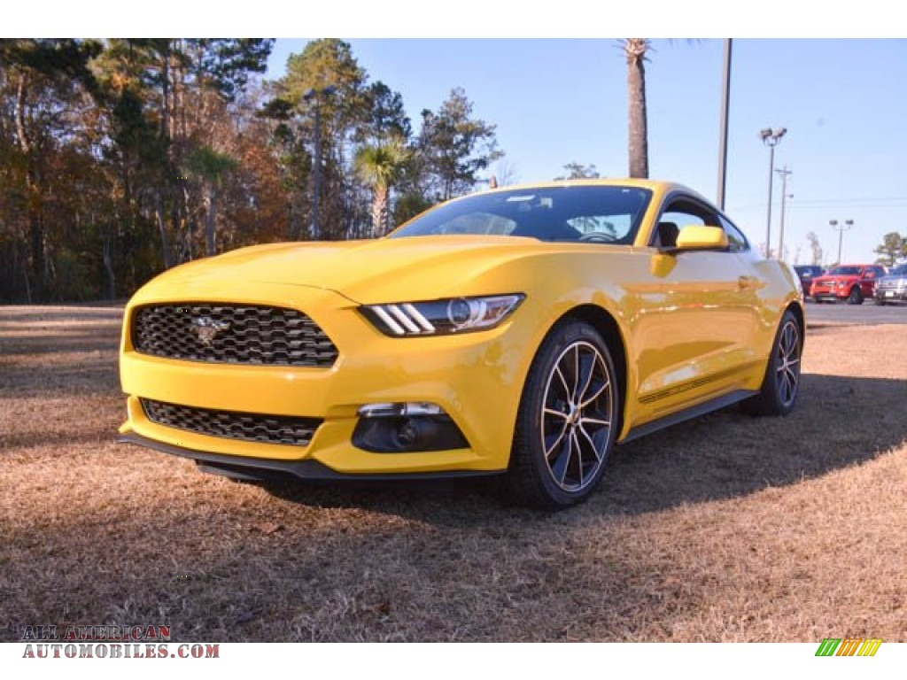 2015 ford mustang ecoboost coupe in triple yellow tricoat 308660 all american automobiles. Black Bedroom Furniture Sets. Home Design Ideas